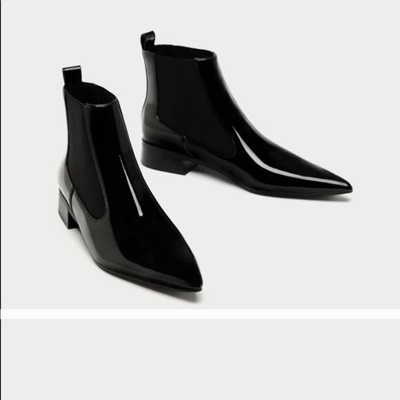 1d4b44381a6c NET Black patent ZARA Chelsea boot